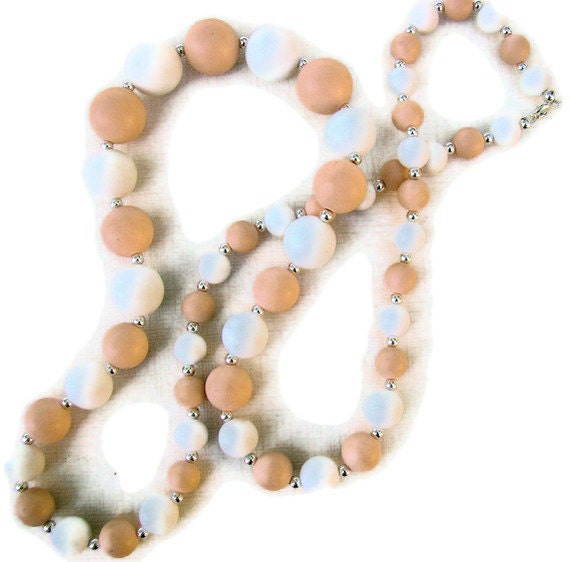 Beaded Necklace, Peach and White, Chunky, For Her, Casual, Repurposed