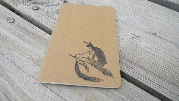 Nude Witch On A Broomstick  Lined Journal