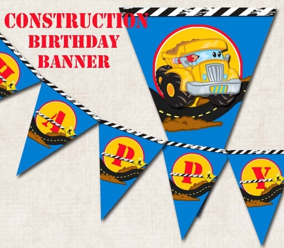 Construction Pals Birthday Party Banner By