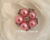 Vintage Metal Buttons - Pearl Gem - Pink PEARL, PINK Stones - 26mm - set of 5