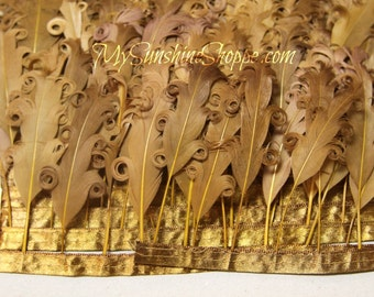 Curly Nagorie Feathers on Ribbon Trim - Tan