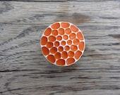 Retro orange honeycomb ring - 111118