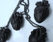 Black Heart anatomical matte black hand sculpted heart pendant necklace