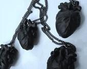 Black Heart anatomical matte black hand sculpted heart pendant necklace
