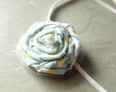 Blue and Yellow dots  Rosette - Baby Headband -Photo prop