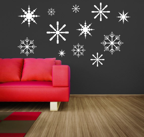 "12 Christmas Wonderland Snowflakes..Vinyl Wall Decal....""Your choice of colors"""