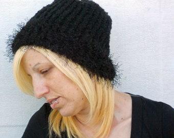 loom knit black beanie, hat , cap