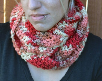 Varigated red tones crocheted winter infinity scarf, cowl