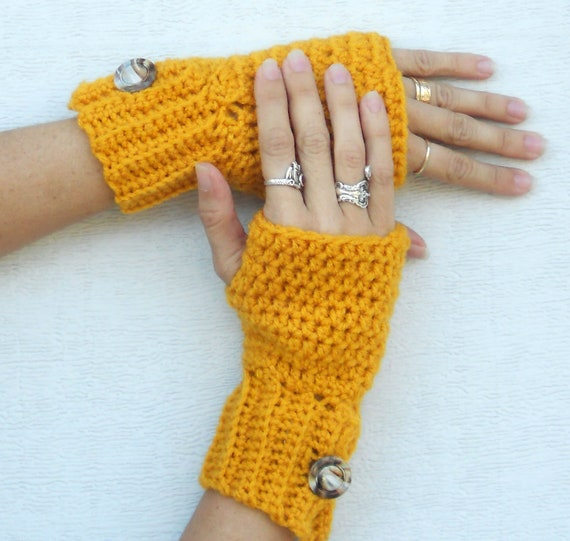 Crochet button arm warmers, wrist warmers, fingerless gloves, mittens in sunset gold