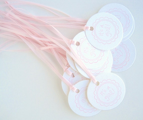 Baby shower favor tags, Pink & white hand stamped gift tags for baby girl, its a girl
