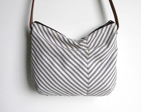 SALE Ticking Stripe Chevron Cross Body Hobo Bag