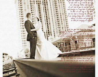 11x14 Wedding Vows Photo Print  - Wedding Vows on Canvas Paper - First Paper Anniversary - Wedding Photo Print