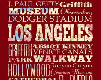 Los Angeles, California, Typography Poster/Bus/ Subway Roll Art 16X20-Floral Series-Los Angeles' Attractions Wall Art Decoration-LHA-207-C0