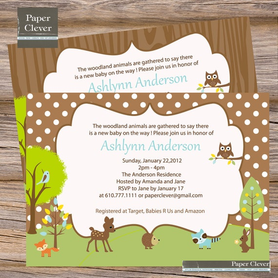 neutral baby shower invitation woodland digital file printable