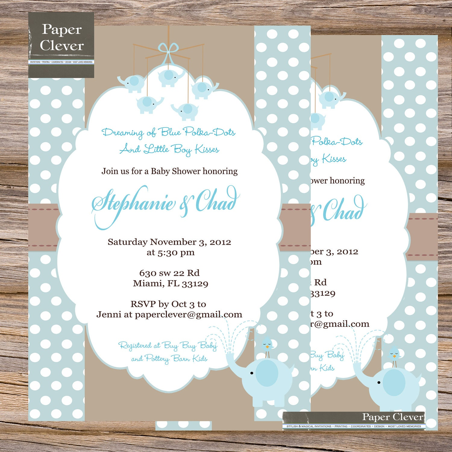 Baby Shower Invitations Wording For Boys: Boys Baby Shower Invitation Blue & Taupe Elephant By