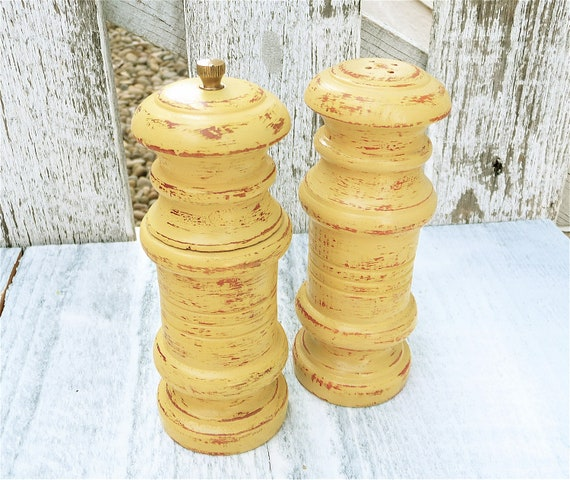 Cheerful Yellow Shabby Chic Salt and Pepper Shaker Set