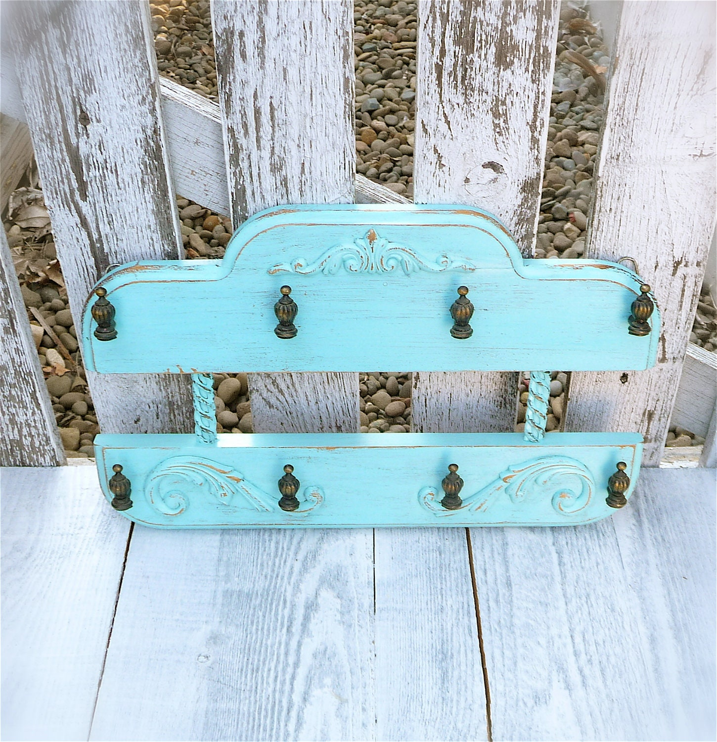 Teal turquoise shabby chic key holder wall by huckleberryvntg - Telas shabby chic ...