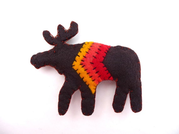 SALE Rustic moose with chevron magnet, number 74