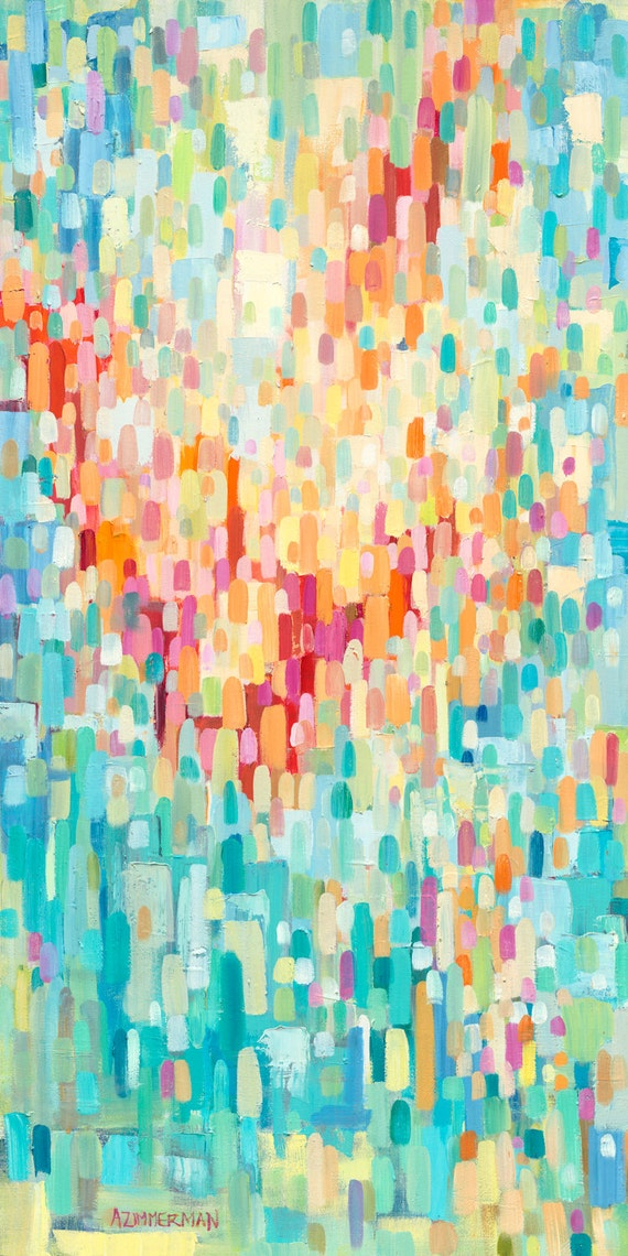 24x48 Original Oil Painting Splashy Red, Orange and Blue Abstract-Pointillistic