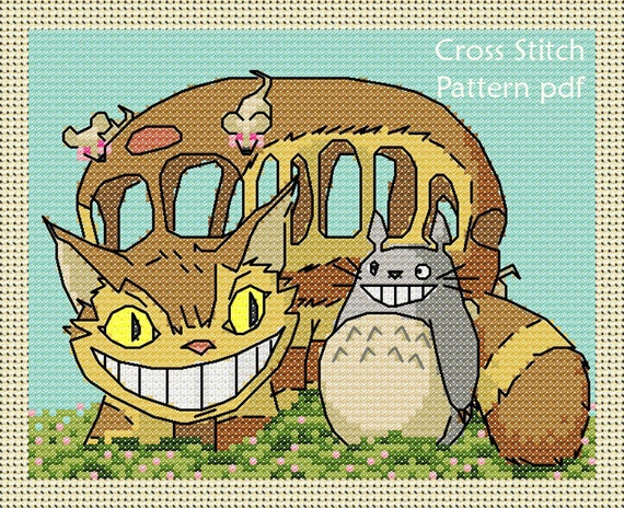 Totoro with Catbus cross stitch pattern pdf.