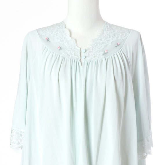 70s Vintage Nightgown Pajama Top Pastel Blue Small Medium Large