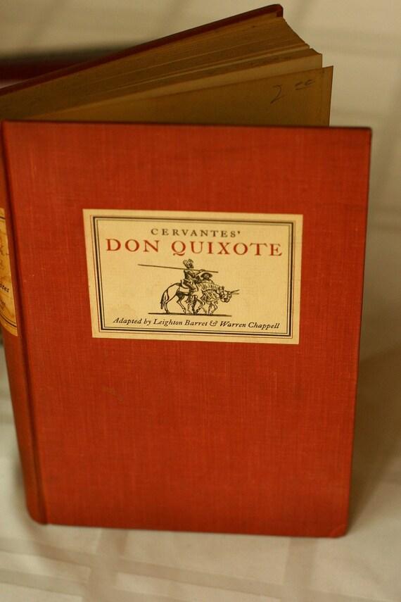20% OFF SALE - Vintage Cervantes' Don Quixote 1st Edition, English Halcyon House, Home Decor Red