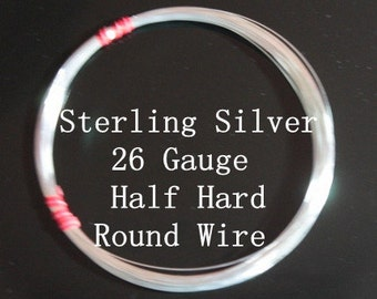 26 g ga Gauge Sterling Silver Wire - Round - Half Hard - sold by 15 ft increments (RW2601SS)