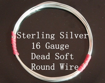 16 g ga Gauge Sterling Silver Wire - Round - Dead Soft - sold by 1.5 ft increments (RW1602SS)