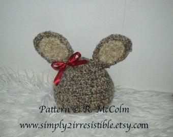 Benjamin Bunny Hat Pattern - Crochet Pattern 36 - Newborn to Adult - INSTANT DOWNLOAD