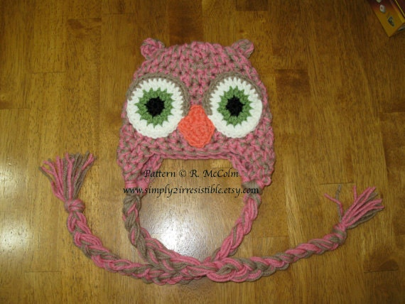 Speckled Owl Hat - Crochet Pattern 20 - Beanie and Earflap Pattern - Newborn to Adult - INSTANT DOWNLOAD