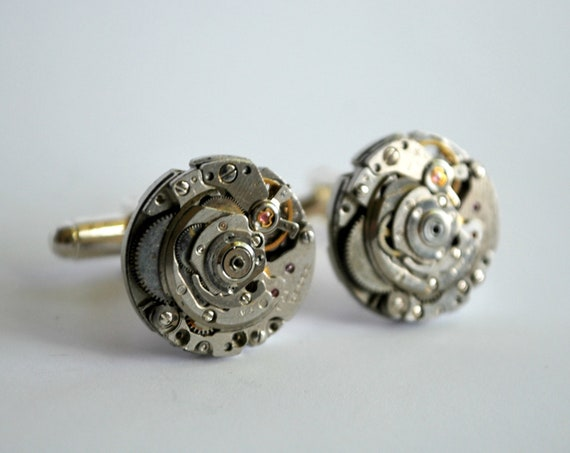 Steampunk Cufflinks - Steampunk for Men - RARE Watch Movement Cufflinks - Groomsmen Gifts