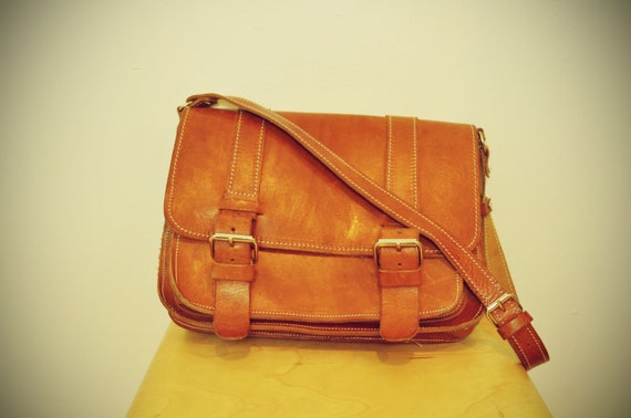 Vintage Leather Camel Brown Mini Brief Case Satchel