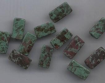 Twelve gorgeous Greek ceramic beads - matte muted green splashed with rust and dark muted grey-green - 20 x 10 mm triangular beads
