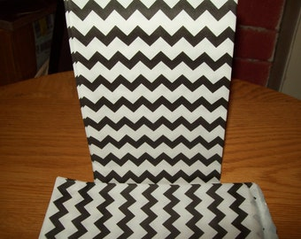 Chevron Black Middy Bitty Treat, Favor, Party, Bags Set of 20