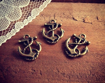 Anchor Charms, Antique Bronze, Nautical, Vintage Jewelry Supplies Pirate Ship  (BD077)