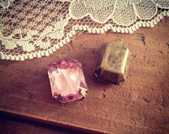 4 Pcs Large Rectangle Jewel Charm light pink Drop Gem Charm Jewels Rectangle light pink