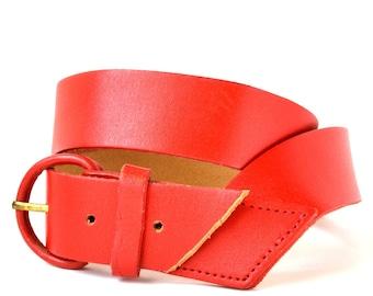 Vintage 80s Red Leather Waist Belt XS S