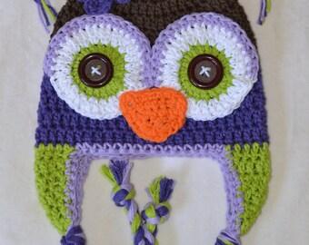 owl hat, crochet owl hat, crochet kids hat, crochet baby hat, custom colors