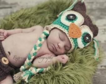 owl hat, baby hat, boys hat, crochet boy hat, boy owl hat,  baby boy hat