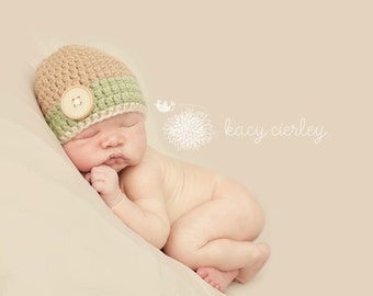 newborn hat, baby hat, hat with button, crochet baby hat, boys hat, baby boy hat, newborn boy hat