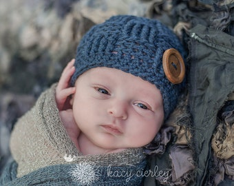 baby boy hat, newborn hat, newborn baby hat, basket weave hat, newborn boy hat, baby hat, button hat