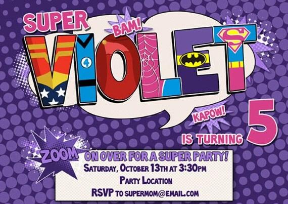 Personalized Super Girl Birthday Party Invitation- Digital File