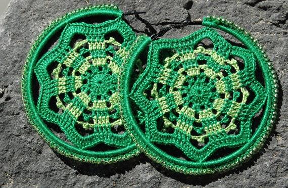 Crochet hoop earring - Crochet earring jewelry - Green earring