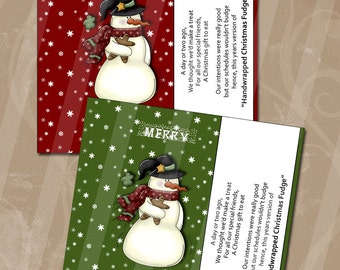 Digital Candy Bar Wrappers Instant Download Christmas Fudge