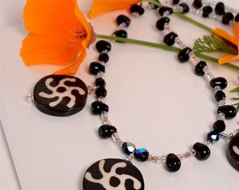 ON SALE - Batik Bone and Black Agate Pendant
