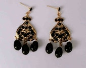 Black crystal gold chandelier earring