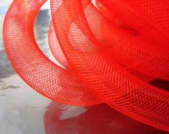 1 Yards of Red Horsehair ( Cringe )  Tube Crinoline for Hair Accessories ( 15mm Width )