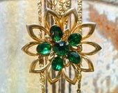 Vintage Gold and Emerald Flower Necklace