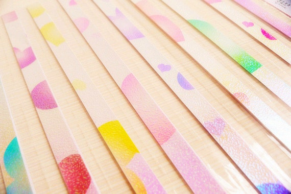 Origami Lucky Star Paper Strips Pastel Peach Heart Pearlescent - Pack of 50 Strips