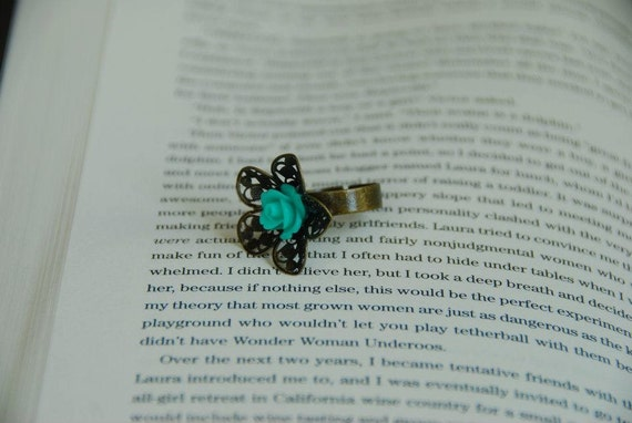 Turquoise Cabachon Rose on adjustable ring brass filigree